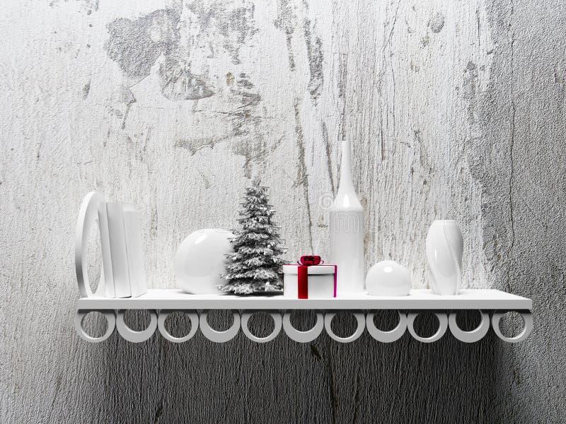 Julgran på hyllan med olika objekt royaltyfria foton