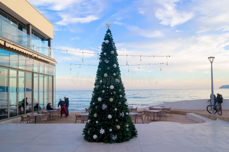Julgran på ingången av sjösidastrandkafét Träd för nytt år som dekoreras med bollar för en guld- stjärna och silvermot blen arkivbilder