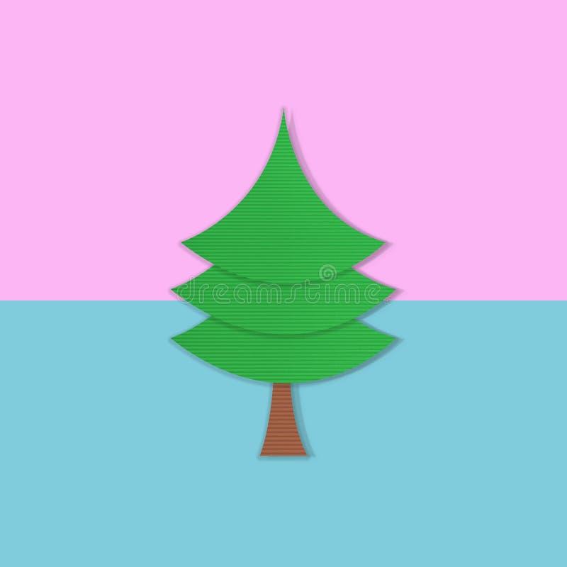 Julgran på pastellfärgad rosa och blått, säsonghälsning, minsta begrepp för nytt år royaltyfri foto