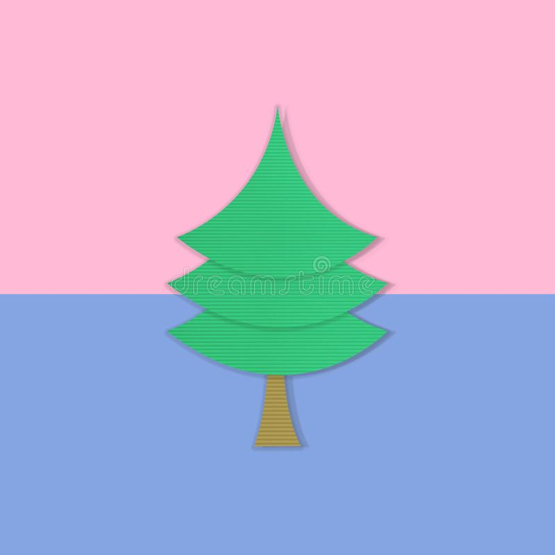 Julgran på pastellfärgad rosa och blått, säsonghälsning, minsta begrepp för nytt år royaltyfria foton