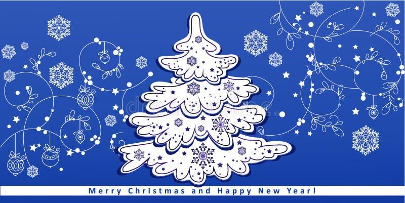 Julgran på vintermodell royaltyfri illustrationer