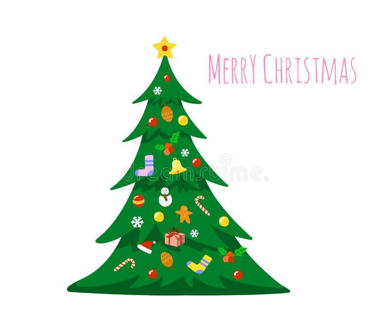 Julgran som dekoreras med garneringar som isoleras på vit bakgrund glad jul royaltyfri illustrationer
