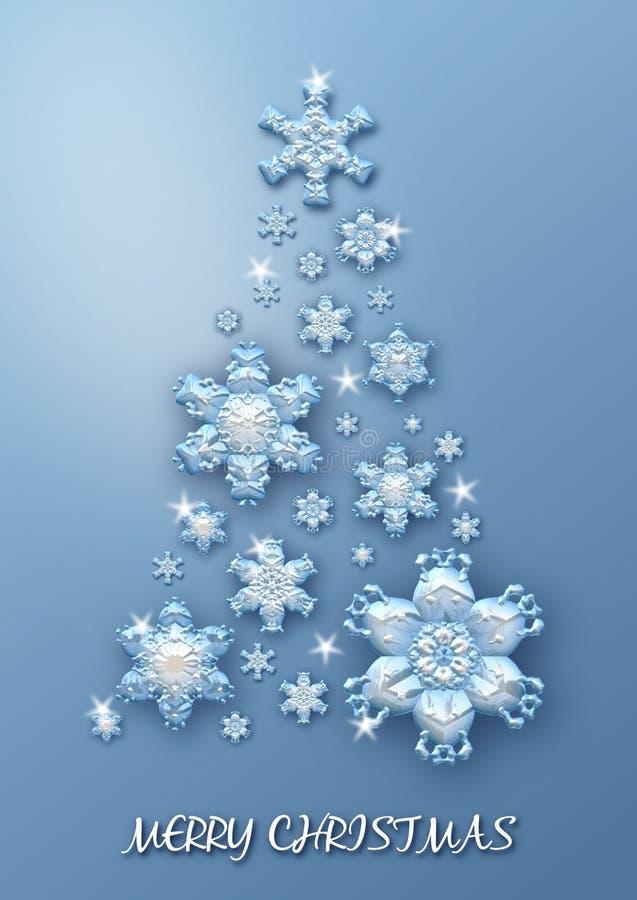 Julgran som göras av blåa snöflingor på blå bakgrund glad greeting för kortjul stock illustrationer