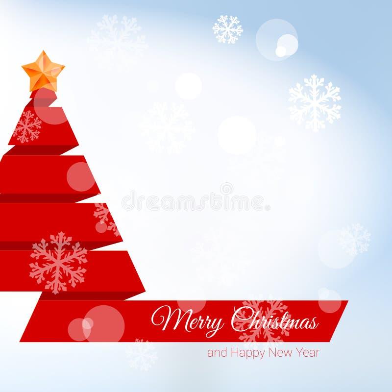 Julgran som göras av rött band med julstjärnan stock illustrationer