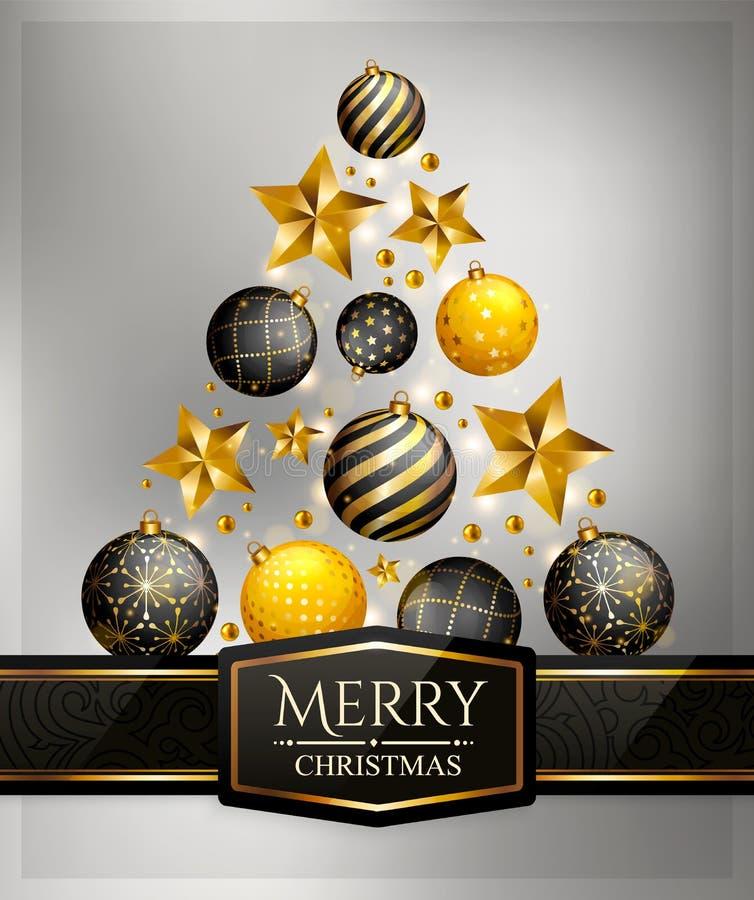 Julgran som göras av struntsaker och stjärnor också vektor för coreldrawillustration royaltyfri illustrationer
