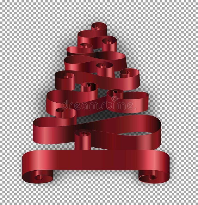 Julgran som göras av vektor för bandgarneringband royaltyfri illustrationer