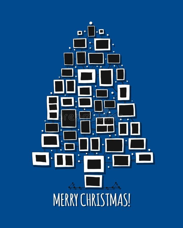 Julgran som göras från fotoramar, hälsningkort för din design vektor illustrationer