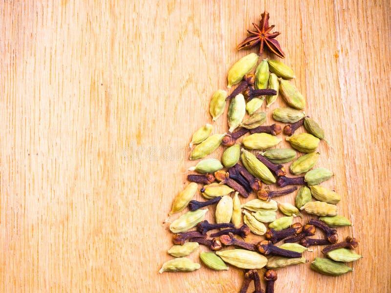 Julgran som göras från kryddor royaltyfri foto