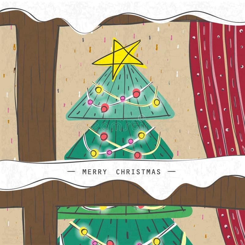Julgran som ses till och med ett träfönster stock illustrationer