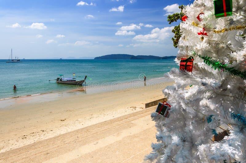 Julgran strand för Ao Nang, Thailand fotografering för bildbyråer