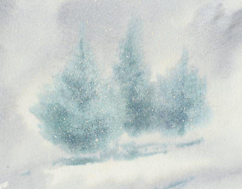 Julgranar i snöhäftig snöstormakvarell stock illustrationer
