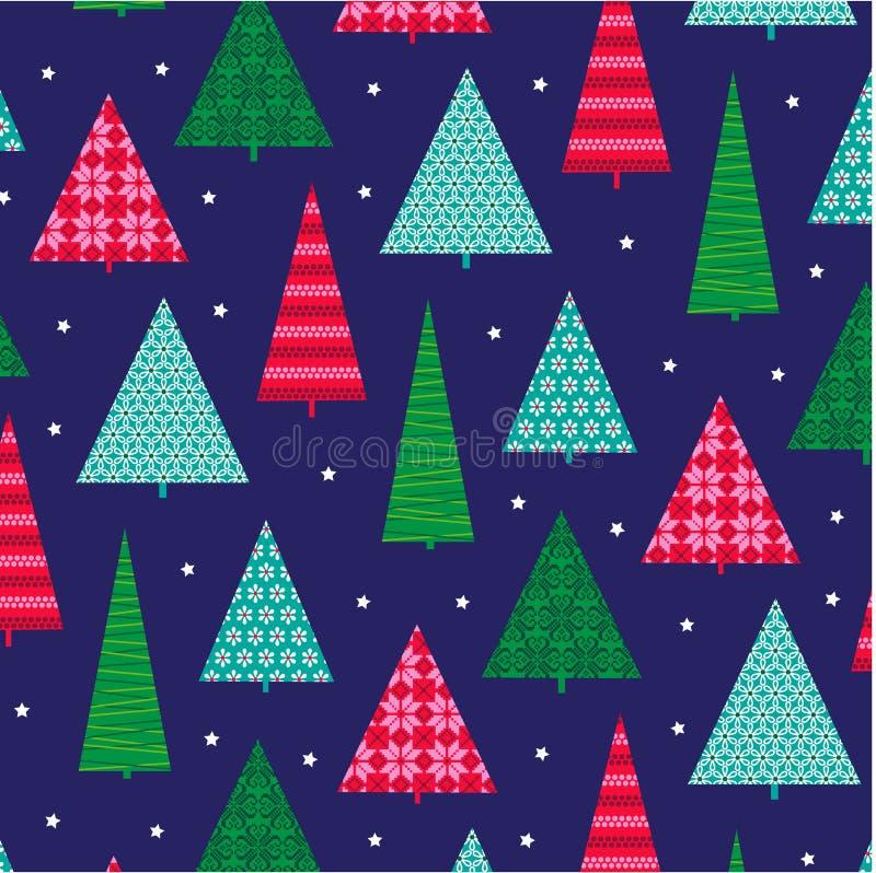 Julgranar med modeller stock illustrationer