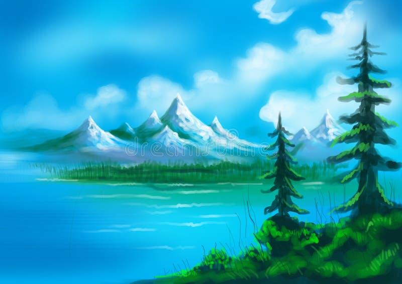 Julgranar med sjön och kullar målat landskap stock illustrationer