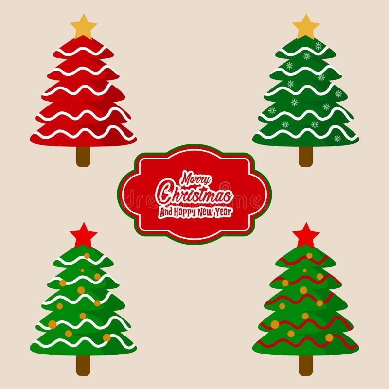 Julgranar och märka den dekorativa beståndsdelvektorn stock illustrationer