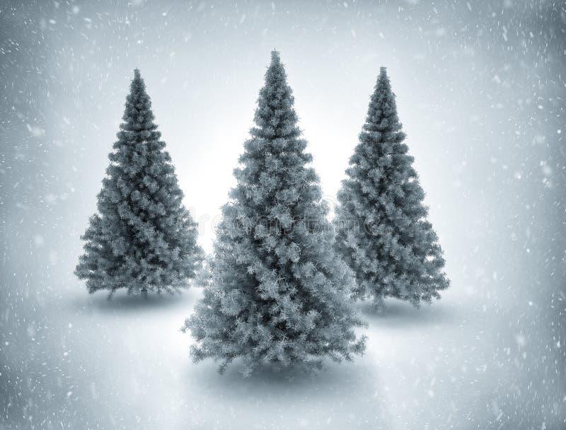 Julgranar och snö vektor illustrationer