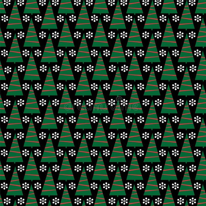 Julgranar och snöflingor på svart bakgrund stock illustrationer
