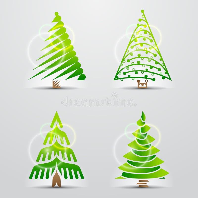 Julgranar. Seten av vektorn undertecknar (symboler) vektor illustrationer