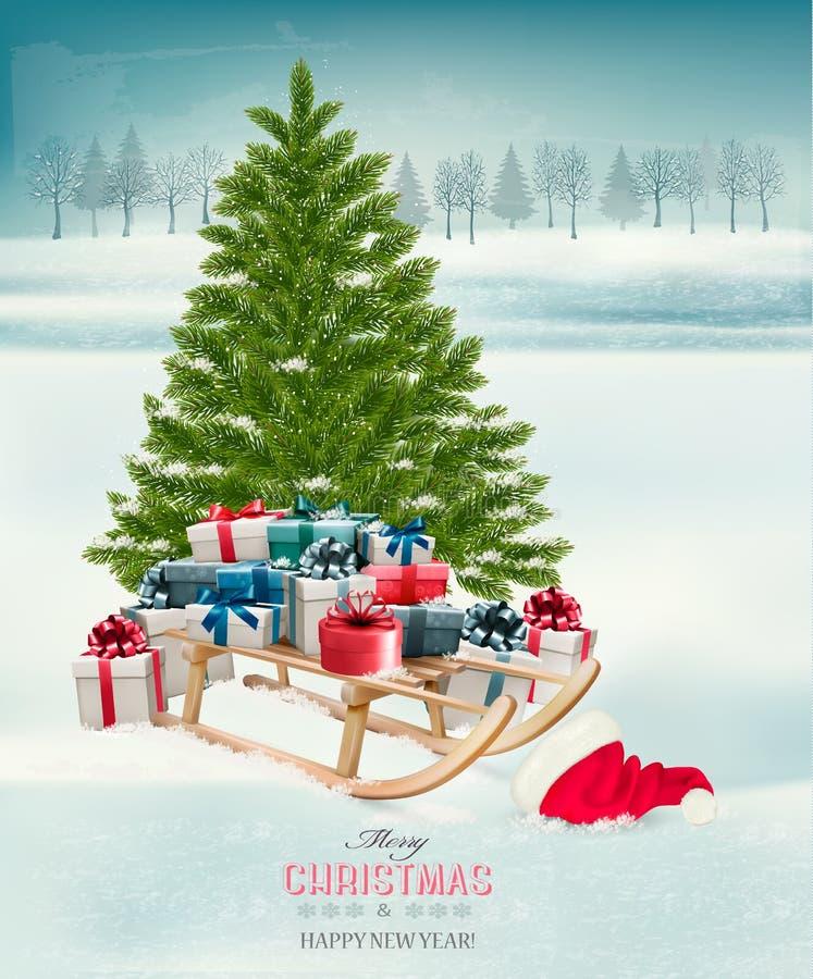 Julgranbakgrund med gåvor och en släde vektor illustrationer