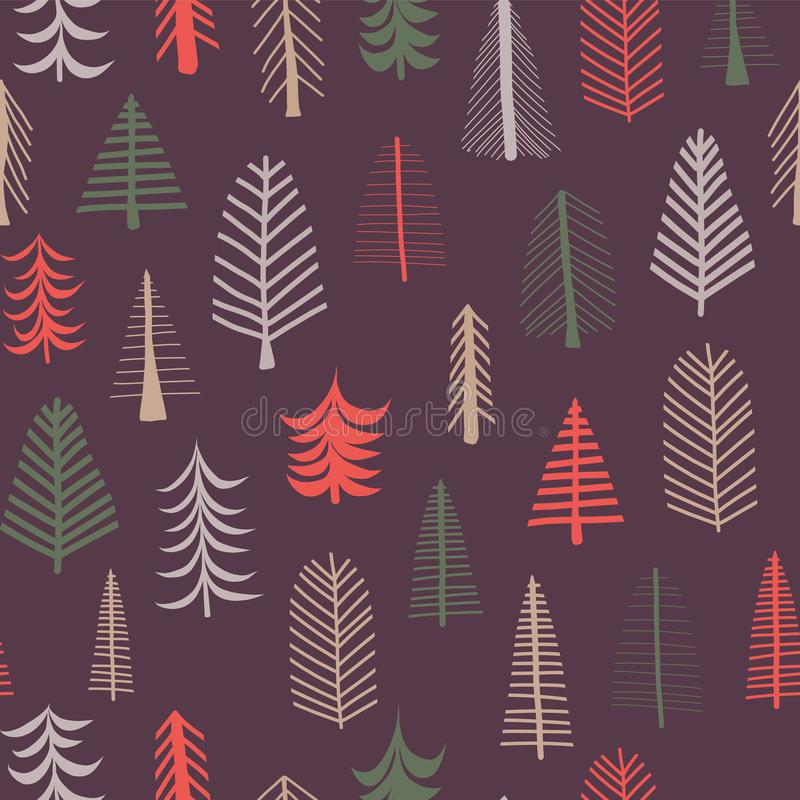 Julgranbakgrund Sömlös tegelplatta för vektormodellrepetition Gräsplan, brunt och röda klotterträd på lilor härlig vektor för jul vektor illustrationer