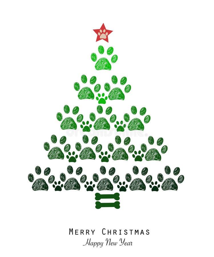 Julgranen gjorde av tafsar tryck och benet Lyckligt hälsningskort för nytt år vektor illustrationer