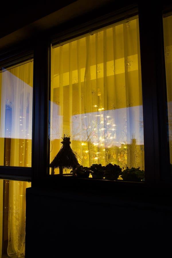 Julgranen glöder bak fönstret arkivbild