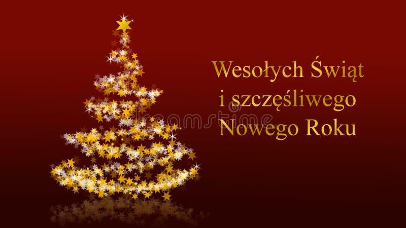 Julgranen med att blänka stjärnor på röd bakgrund, polermedel kryddar hälsningar royaltyfri illustrationer