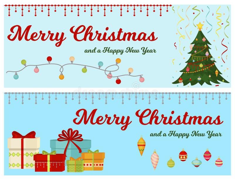 Julgranen med grangåvor klumpa ihop sig banerljus övervintrar år för glad beröm för xmas för feriegåvakortet lyckligt nytt stock illustrationer