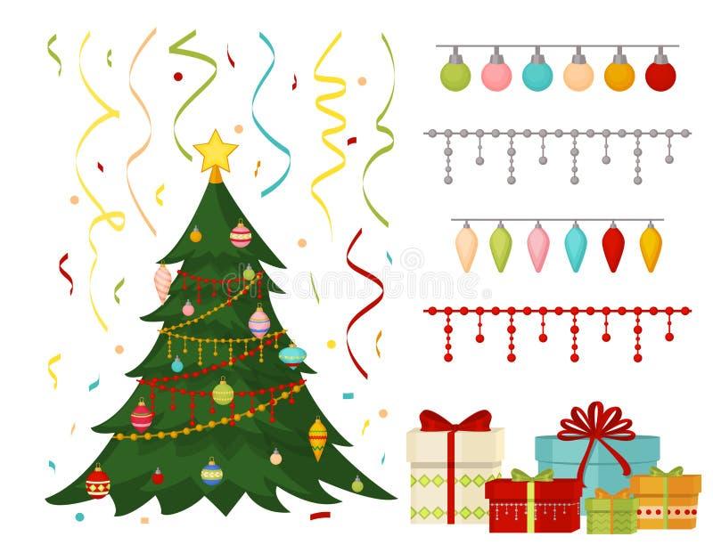 Julgranen med grangåvor klumpa ihop sig garnering för det lyckliga nya året för beröm för xmas för kortet för gåvan för ljusvinte vektor illustrationer