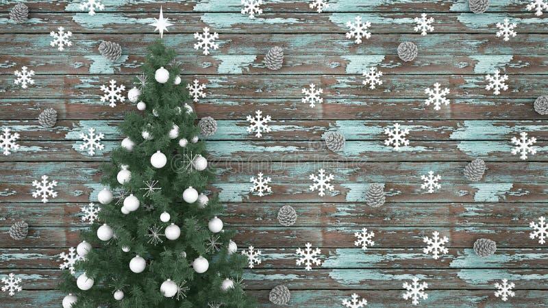 Julgranen med sörjer kotten och snöflingan på ljust - blå gammal träbakgrund - konstverk för juldagen eller det lyckliga ny arkivbilder