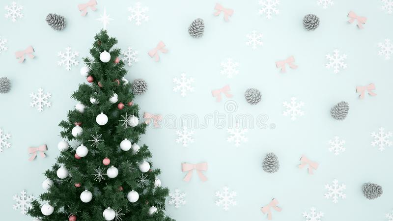 Julgranen med sörjer kotten, snöflingan och bandet på ljust - blå bakgrund - konstverk för juldagen eller det lyckliga nya  arkivfoto