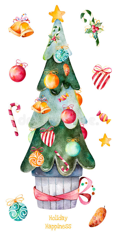 Julgranen som dekoreras med jul, klumpa ihop sig, godisen, guld- klockor, godisanm mer vektor illustrationer