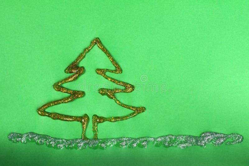 Julgranen som göras av skinande, stelnar royaltyfri illustrationer