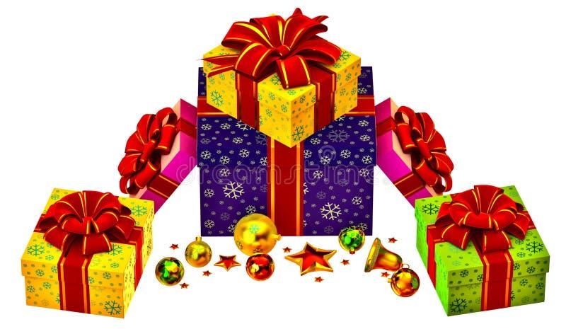 Julgranen toys och ställde in av gåvor med röda bows vektor illustrationer