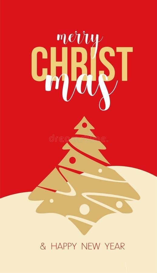 Julgranens hälsningskort med julhälsningar royaltyfri illustrationer