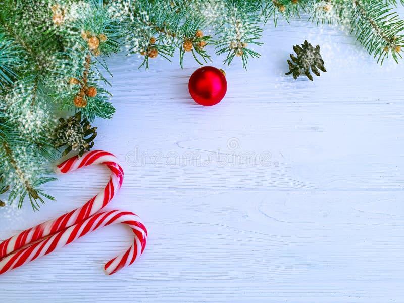 Julgranfilial, vinter som hälsar snögodisen på en vit träbakgrundskortboll arkivbilder
