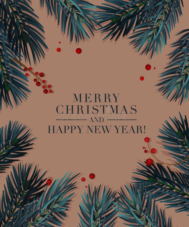 Julgranfilialer med röda bär på beige bakgrund För inbjudanhälsning för nytt år kort 2019 vektor illustrationer