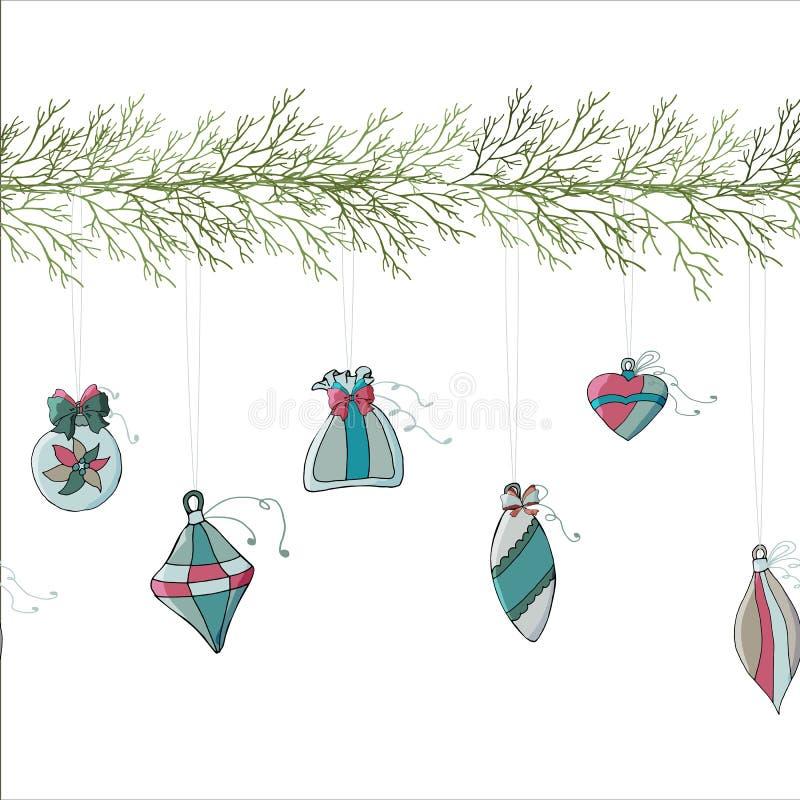 Julgrangirland med julleksaker vektor illustrationer