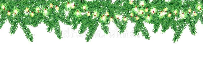 Julgrangräns med girlanden royaltyfri illustrationer