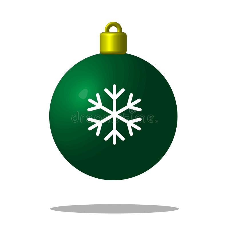 Julgrangräsplanboll med snöflingan Xmas-leksak redigerbart royaltyfri illustrationer