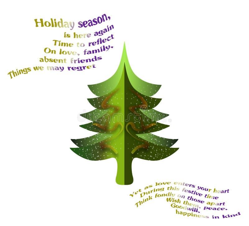 Julgrankort med vers stock illustrationer