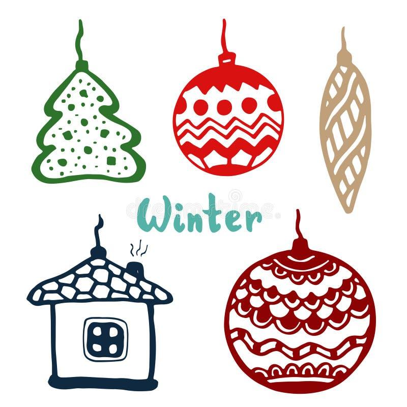 Julgranleksaker klottra uppsättningen med trädet, inhysa och bollar symbol för vektorkonstillustration royaltyfri illustrationer