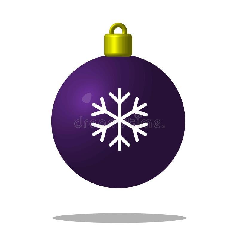 Julgranlilaboll med snöflingan Xmas-leksak redigerbart royaltyfri illustrationer
