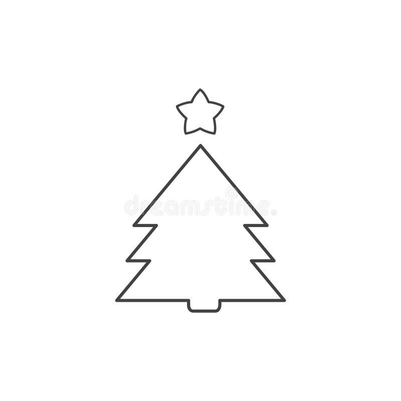 Julgranlinje symbol Översiktsvektortecken Enkelt och härligt stock illustrationer