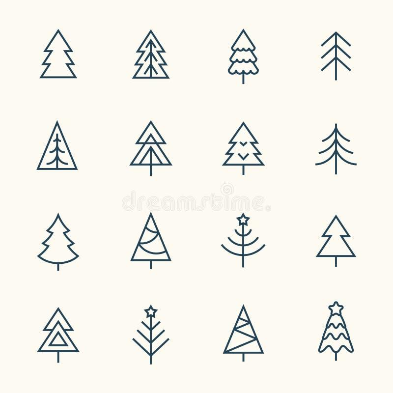 Julgranlinje symbolsuppsättning stock illustrationer