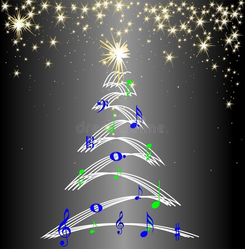 Julgranmusik noterar stjärnor royaltyfri illustrationer