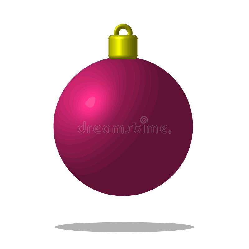 Julgranrosa färgboll Xmas-leksak redigerbart vektor illustrationer