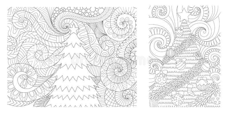 Julgransamling för utskrivavna kort, inbjudan, vägggarnering och den vuxna sidan för färga bok för anti-spänning Vektorillustr stock illustrationer