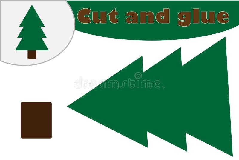 Julgrantecknad filmstil, utbildningslek för utvecklingen av förskole- barn, brukssax och lim som skapar appliqen vektor illustrationer