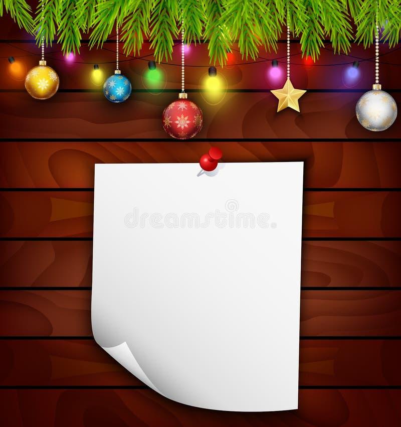 Julgranträd med papper och julgarneringar stock illustrationer