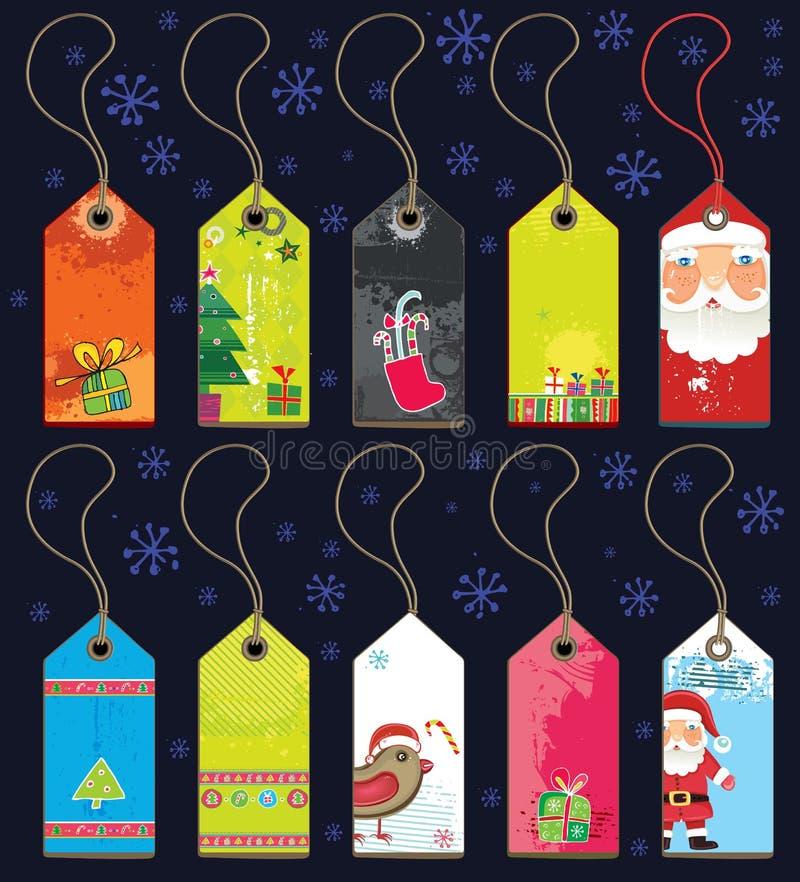 julgrungeetiketter stock illustrationer